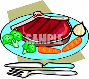 300x267 Clip Art Image A Steak On A Plate With Broccoli And Carrots