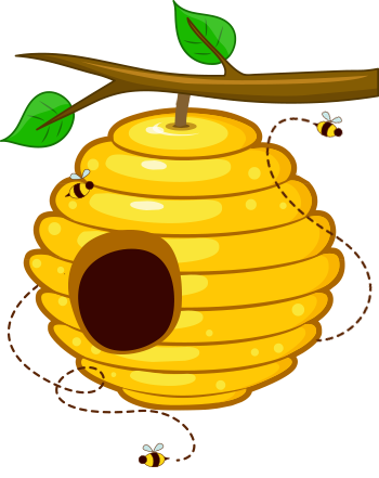 350x441 Honey Bee Hive Clip Art. Vector Bee Icon On Honey Comb Background