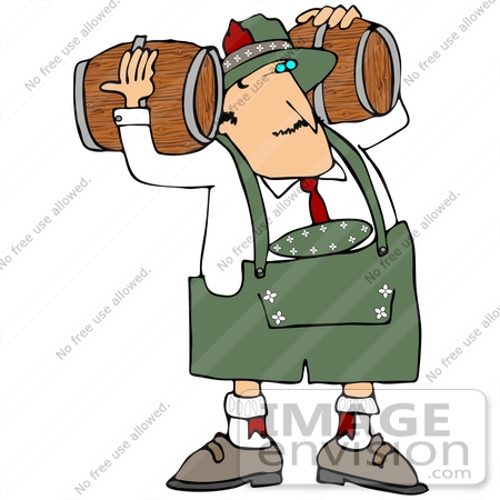 450x450 Clip Art Graphic Of An Oktoberfest Man Delivering Beer Kegs