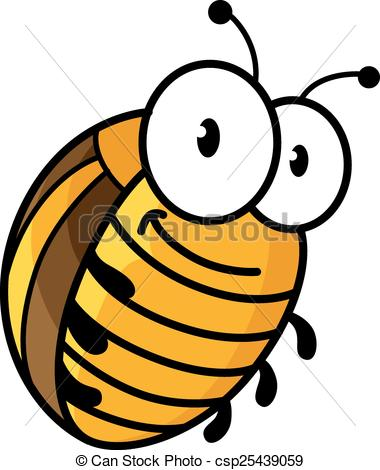 380x470 Big Colorado Potato Beetle In Cartoon Style With Funny Face