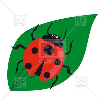 400x400 Cartoon Ladybird On A Green Leaf Royalty Free Vector Clip Art