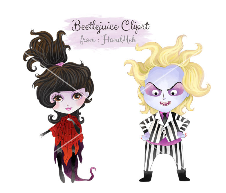 779x665 Beetlejuice Characters Clipart, Halloween Clipart Instant