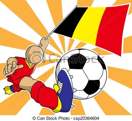 450x415 Belgium Soccer Player Vector Cartoon. Belgium Soccer Player