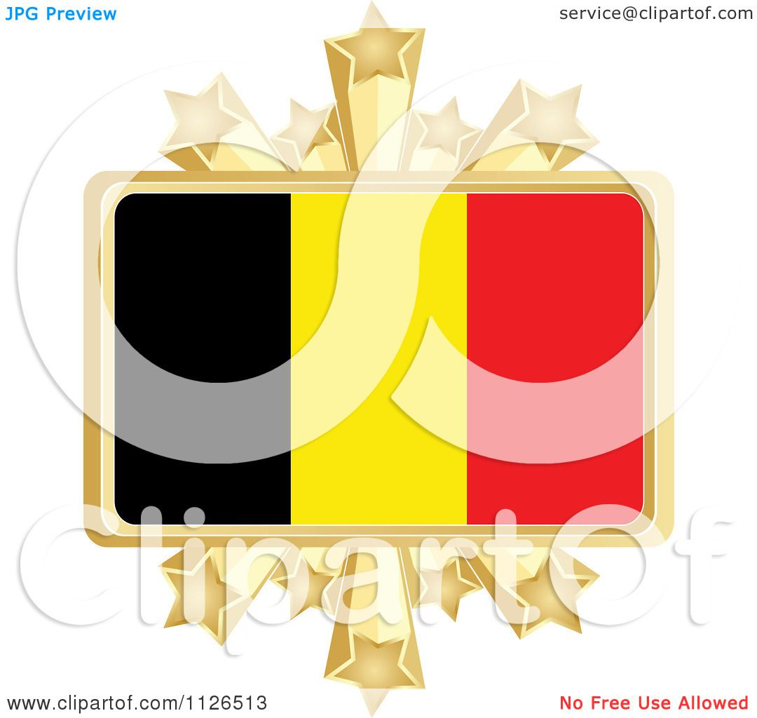 1080x1024 Clipart Of A Belgium Flag With A Golden Stars Frame