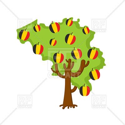 400x400 Patriotic Belgium Tree With Apples Made Of Belgium Flag Royalty