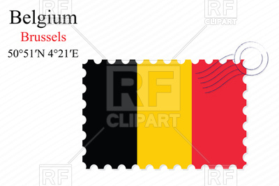 400x267 Postage Stamp With Flag Of Belgium Royalty Free Vector Clip Art