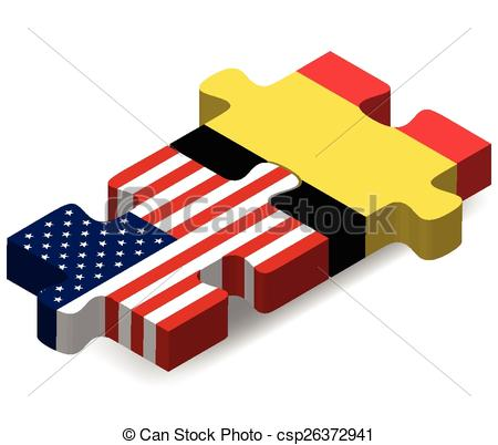 450x402 Usa And Belgium Flags In Puzzle Isolated On White Background Eps