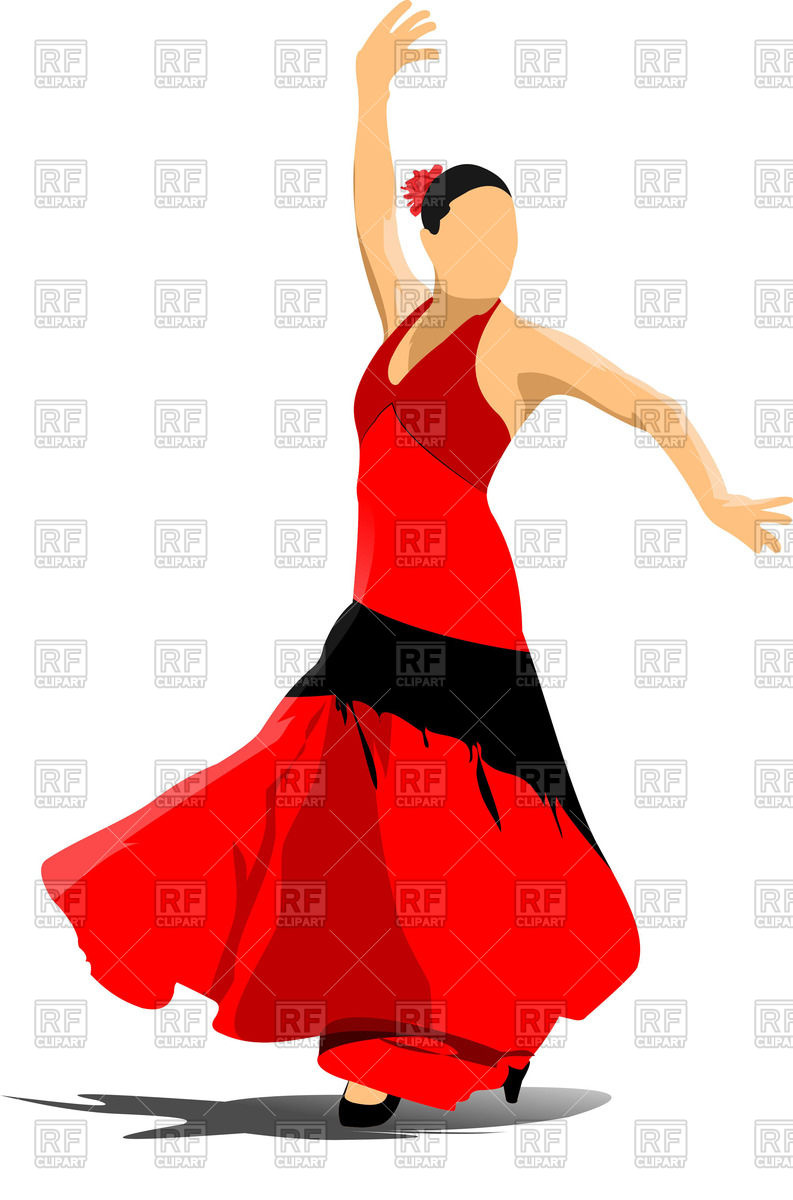 793x1200 Beautiful Young Woman Dancing In Red Dress Royalty Free Vector