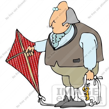 450x450 Clip Art Graphic Of Benjamin Franklin Conducting His Electrical