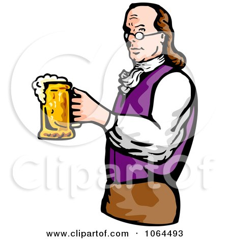 450x470 Clipart Benjamin Franklin Holding Beer