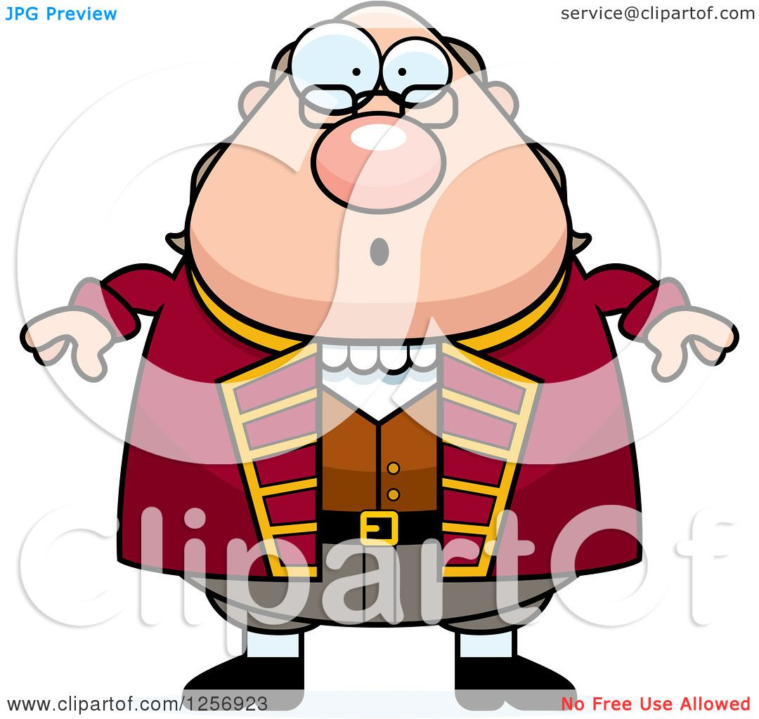 1080x1024 Clipart Of A Surprised Chubby Benjamin Franklin