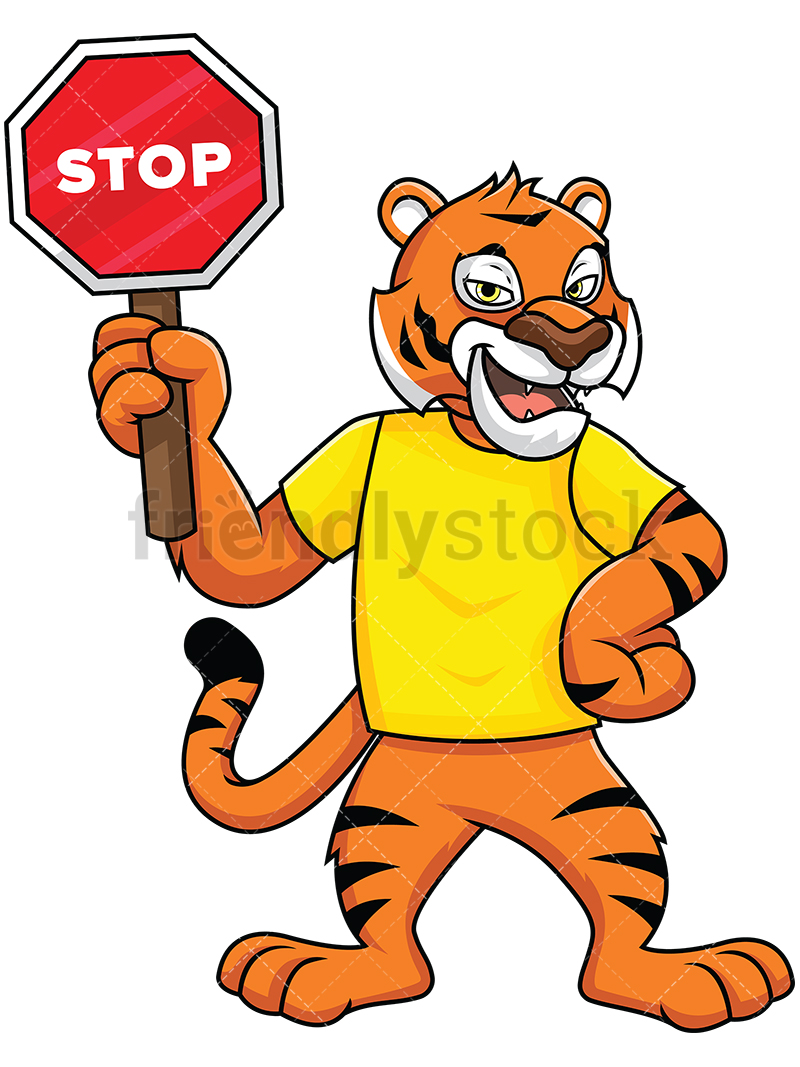 800x1067 Bengal Tiger Mascot Holding Stop Sign Vector Cartoon Clipart