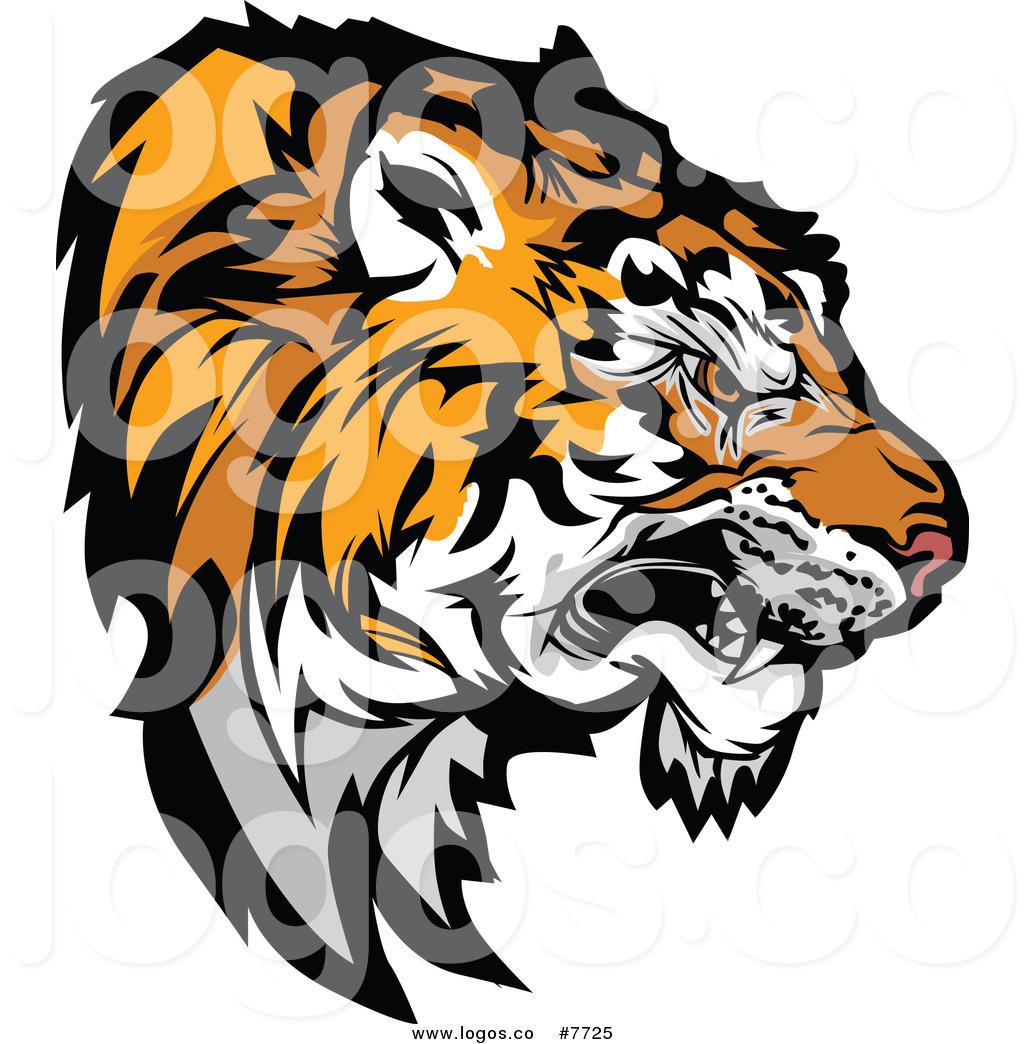 1024x1044 Royalty Free Clip Art Vector Growling Aggressive Tiger Head Logo