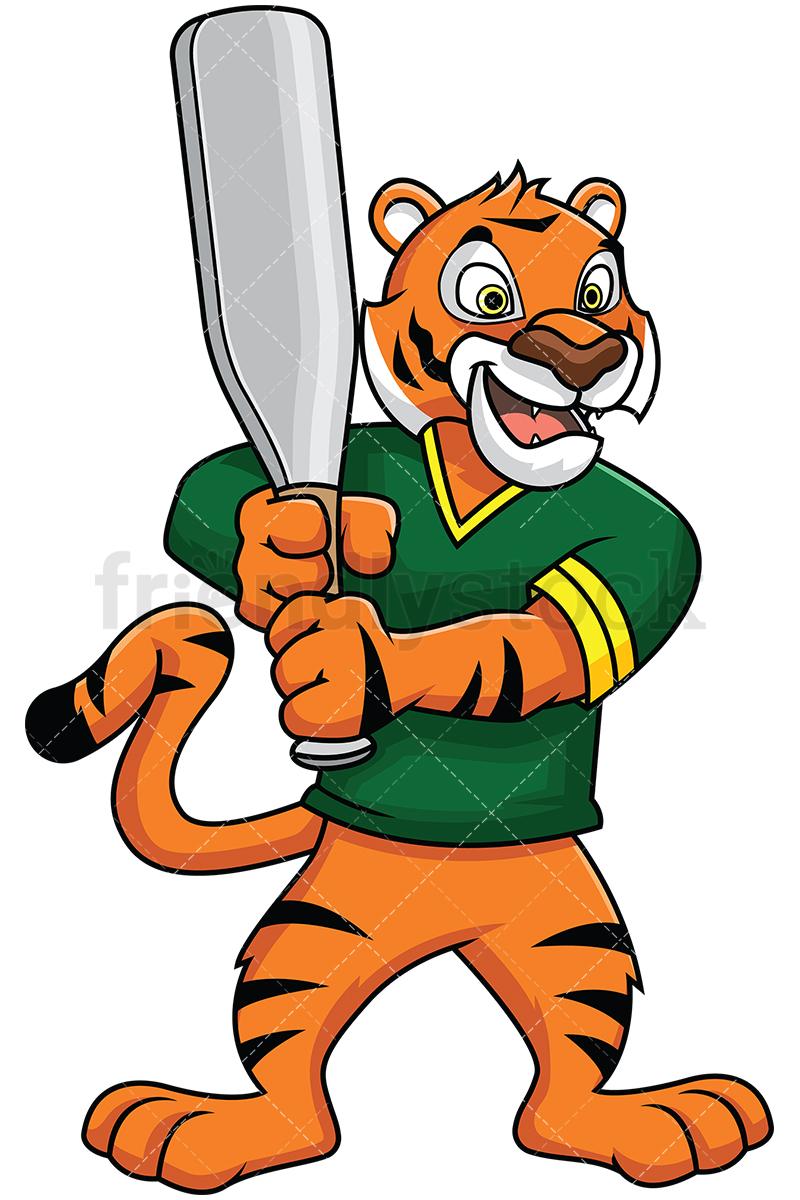 800x1200 Bengal Tiger Mascot Holding Baseball Bat Vector Cartoon Clipart