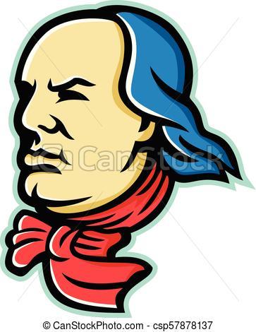 363x470 Benjamin Franklin Head Side Mascot. Mascot Icon Illustration