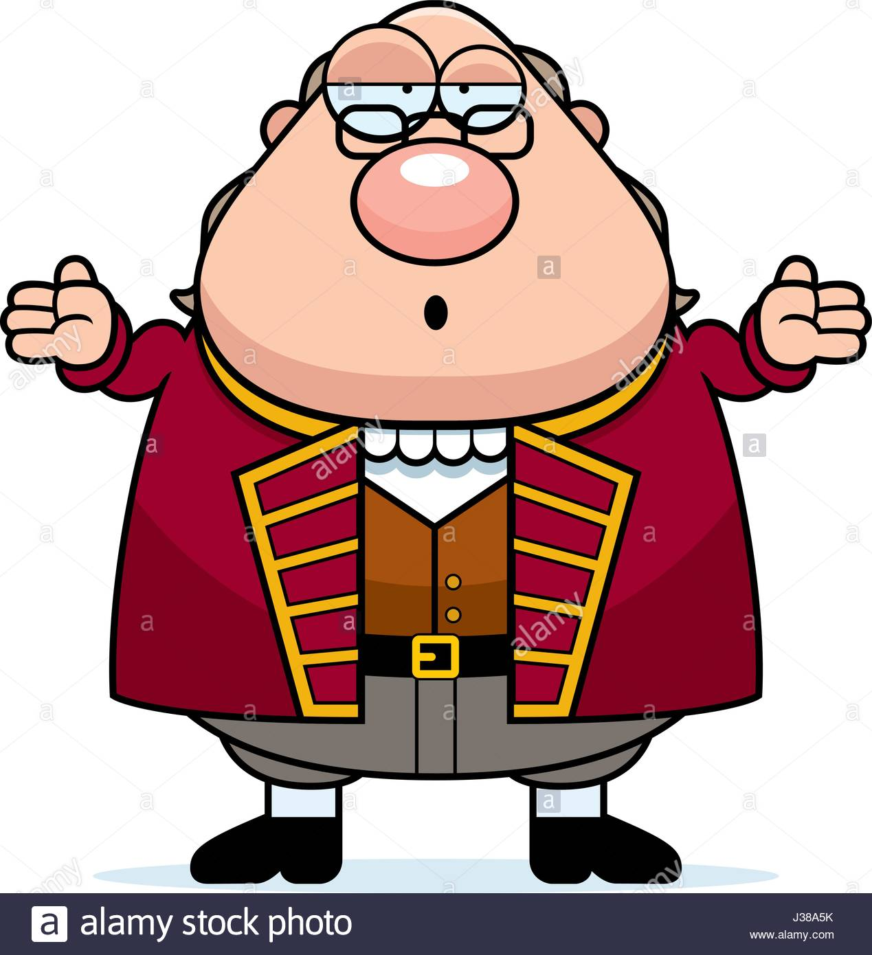 1269x1390 A Cartoon Illustration Of Ben Franklin Looking Confused Stock
