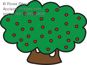 300x227 Clip Art Illustration Of Shrubbery With Berries