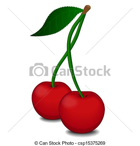 450x470 Ripe Red Cherry Berries With Green Leaves Isolated On White
