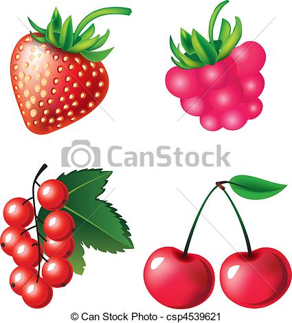 425x470 Vector Set Of Berries Objects Vector Clip Art