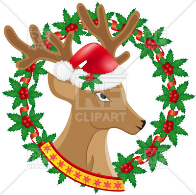 400x398 Christmas Deer And Wreath Of Holly Berries Royalty Free Vector