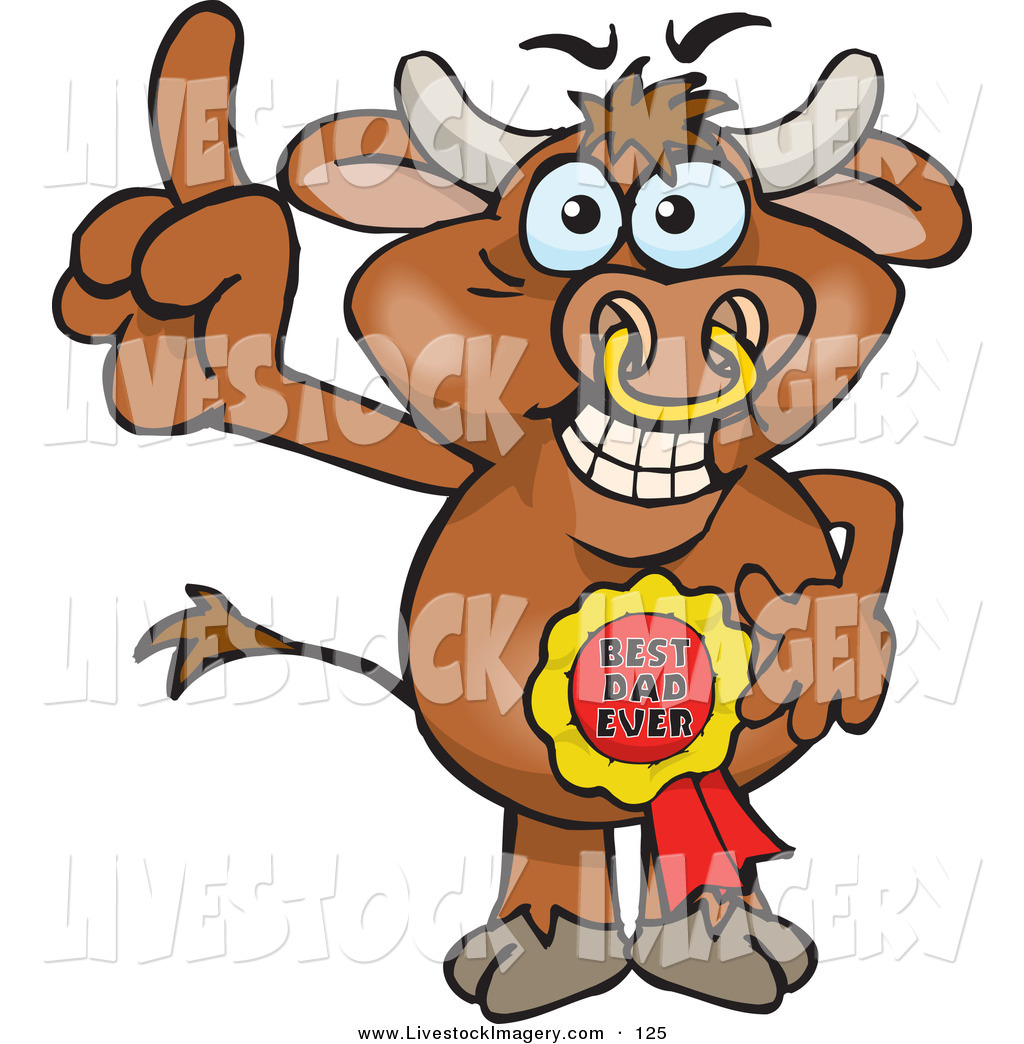 1024x1044 Clip Art Of A Brown Bull Character Wearing A Best Dad Ever Ribbon