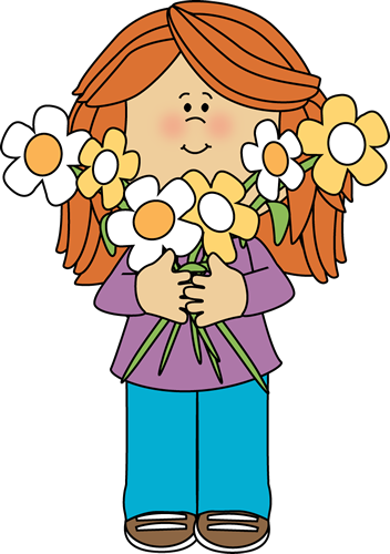 352x500 Girl Holding A Bunch Of Flowers Printable Magnets Or Scrap Book
