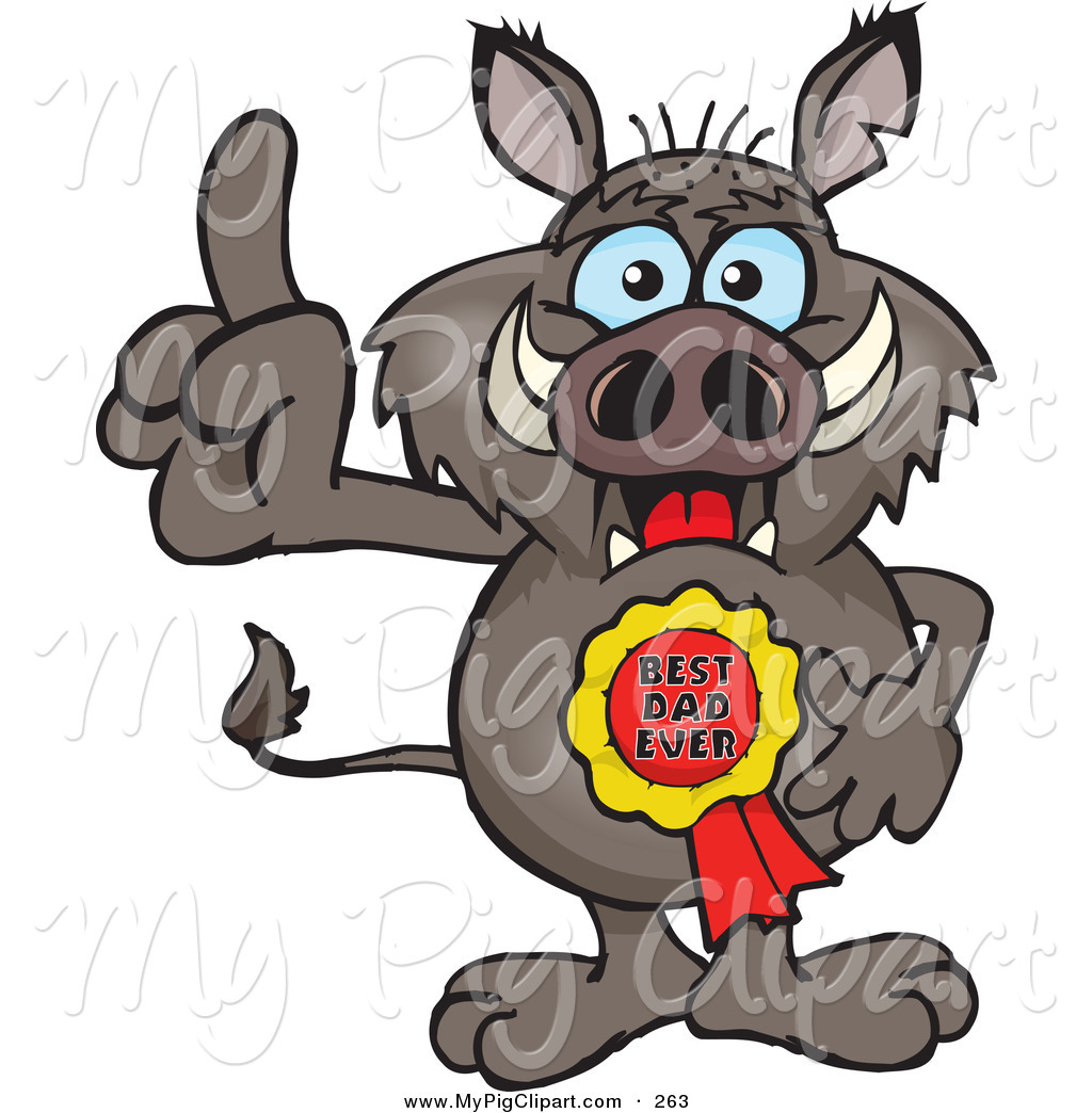 1024x1044 Swine Clipart Of A Happy Boar Character Wearing A Best Dad Ever