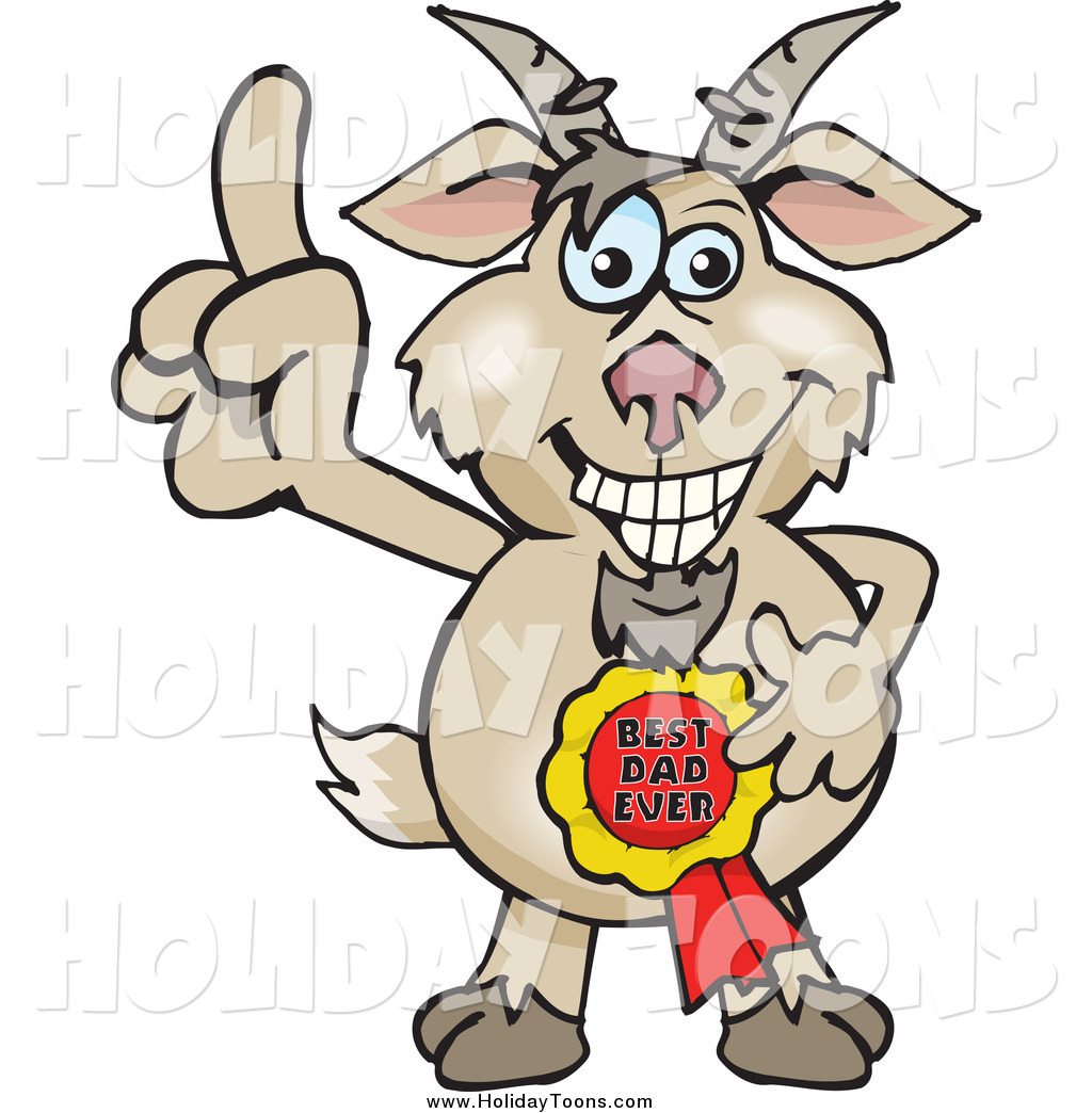 1024x1044 Royalty Free Holiday Cartoon Of A Goat Wearing A Best Dad Ever