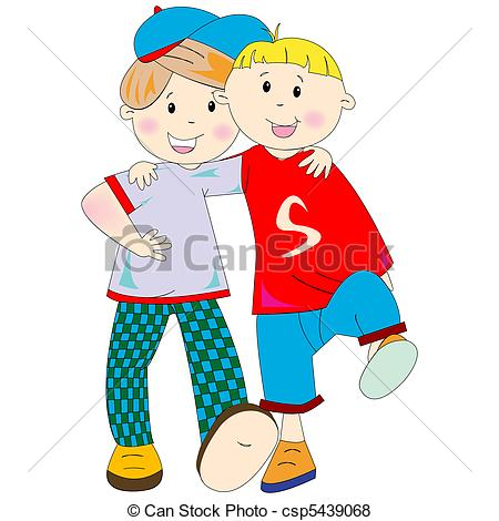 450x470 Best Friends Cartoon Against White Background, Abstract Vector