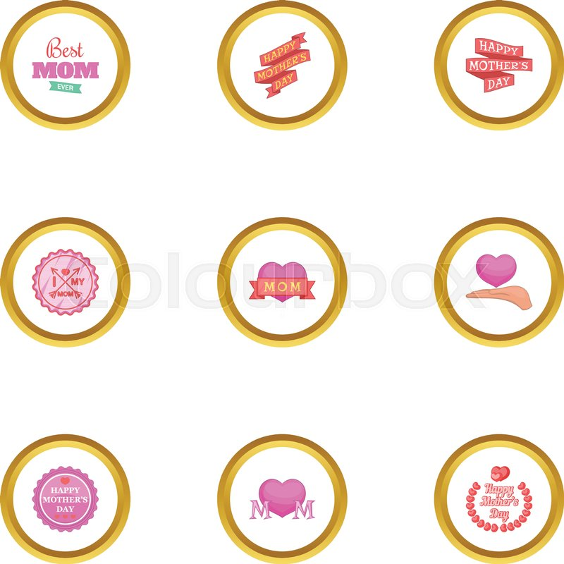 800x800 Best Mom Ever Icons Set. Cartoon Style Set Of 9 Best Mom Ever