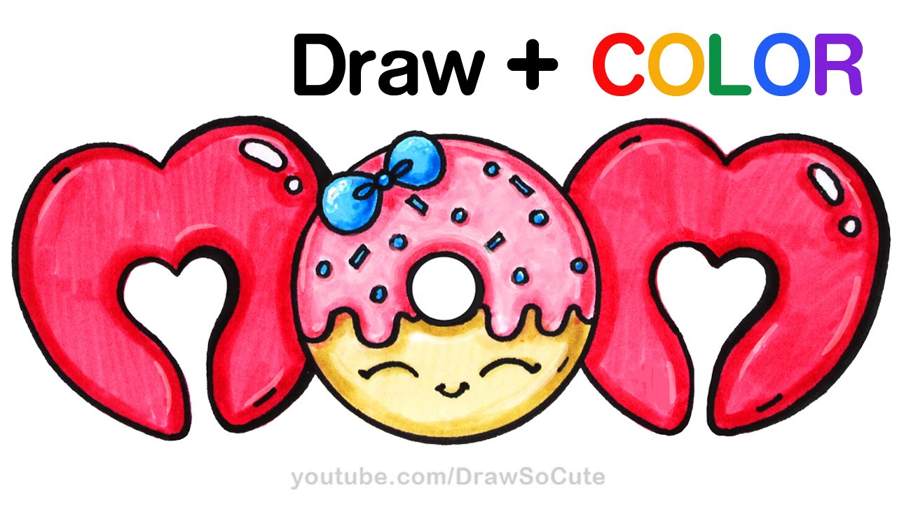 1280x720 How To Draw + Color Mom Bubble Letters With Donut Step By Step