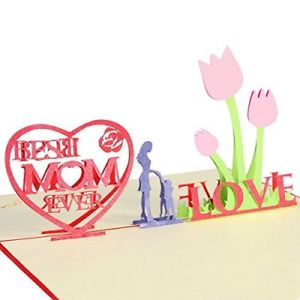 300x300 Mother's Day Cards With Envelope Best Mom Ever 3d Pop Up Greeting
