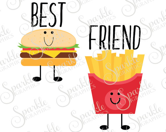 570x456 Best Friend Cut File French Fry Cheeseburger Bestie Best Friend
