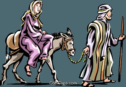 480x333 Mary And Joseph Headed To Bethlehem Royalty Free Vector Clip Art