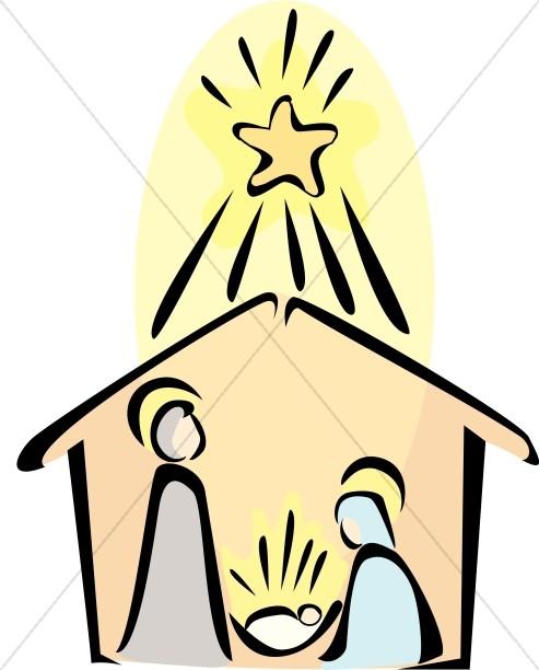 493x612 Nativity Scene With Radiant Star Of Bethlehem Nativity Clipart