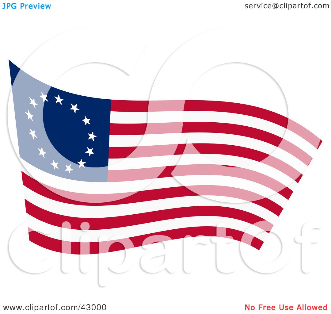 1080x1024 Clipart Illustration Of A Waving Betsy Ross Flag By Dennis Holmes