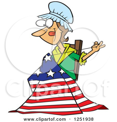 450x470 Clipart Of A Cartoon Betsy Ross Sewing The First American Flag