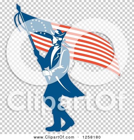 450x470 Clipart Of A Retro Revolutionary Soldier Walking With An American