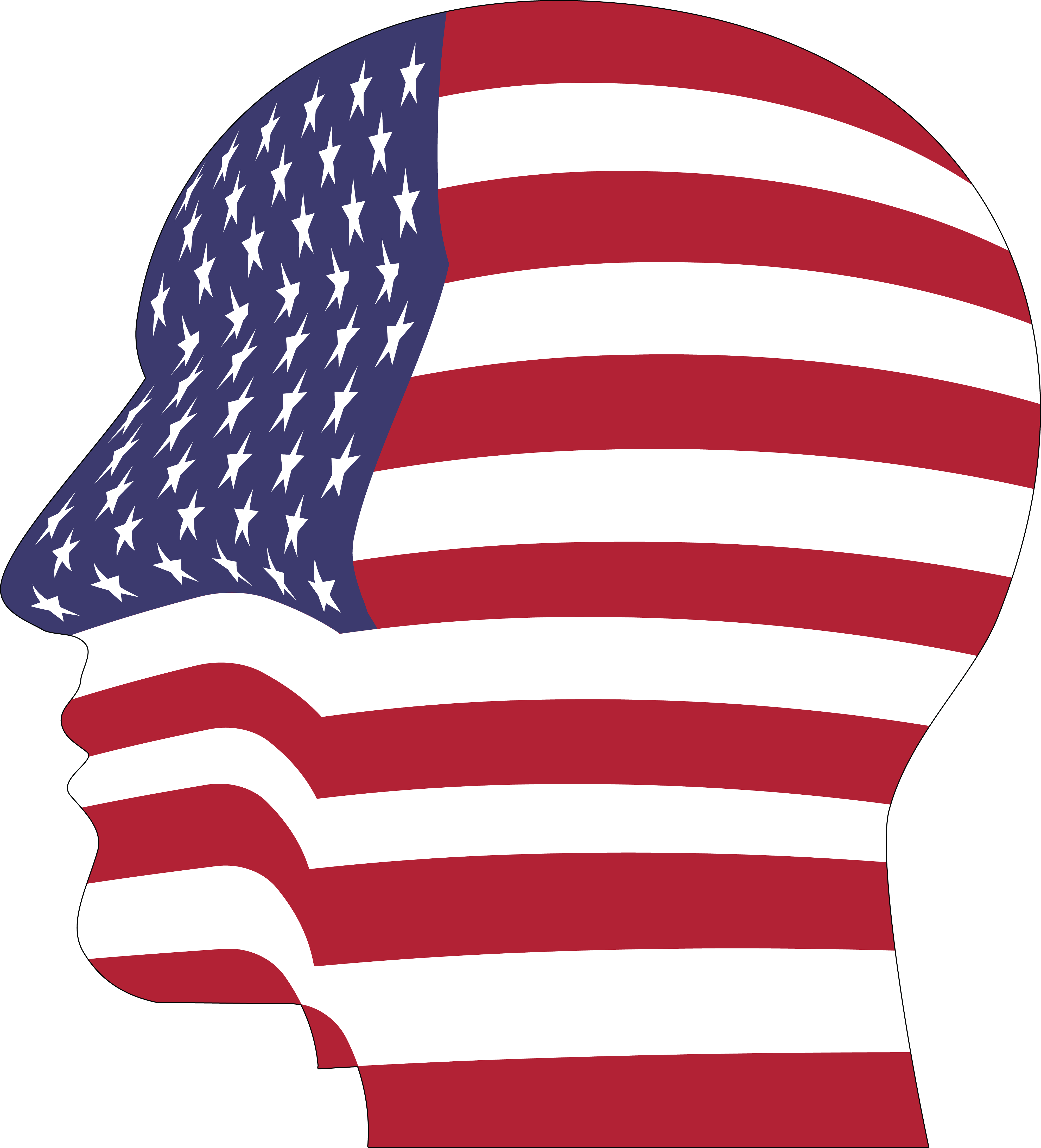 4000x4412 Free Clipart Of A Profiled Head With An American Flag Pattern