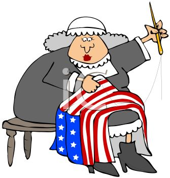 335x350 Royalty Free Clip Art Image Cartoon Of Betsy Ross Sewing
