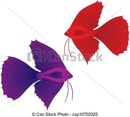450x404 The Stylized Image Of A Red And Blue Betta Splendens Fish Vector