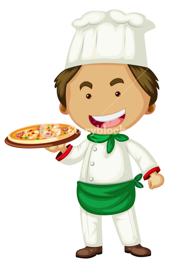 654x1000 Male Chef Serving Pizza Illustration Royalty Free Stock Image