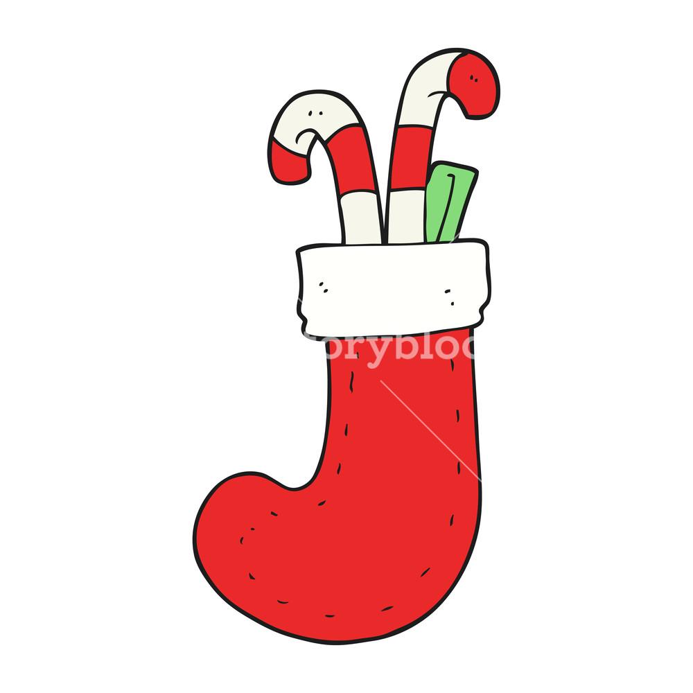 1000x1000 Freehand Drawn Cartoon Christmas Stocking Royalty Free Stock Image