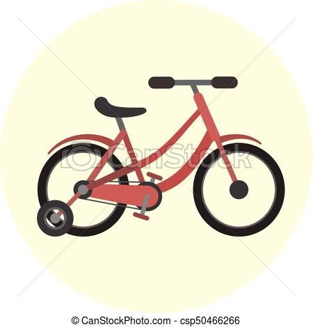 450x470 Flat Red Kids Four Wheels Bicycle Icon, Quadro Scooter. Flat