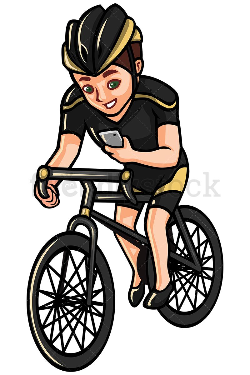 800x1200 Man Checking His Phone While Riding Bike Vector Cartoon Clipart