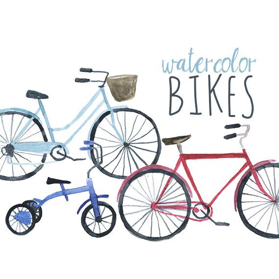 570x570 Watercolor Bikes Clip Art, Bicycle Clipart, Bike Clip Art