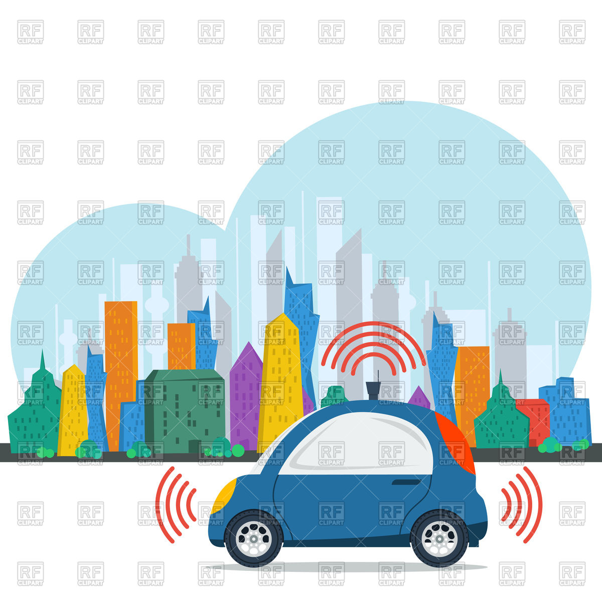 1200x1200 Blue Self Driving Car On Colored Megalopolis Royalty Free Vector