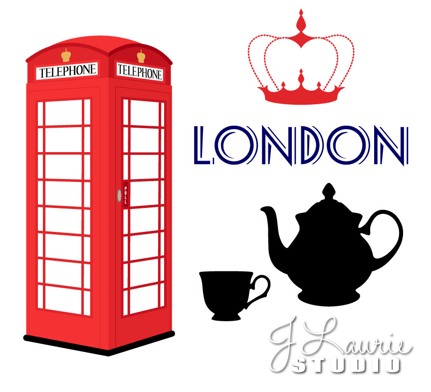 864x786 Digital Clipart London British England Union Jack Travel Vacation