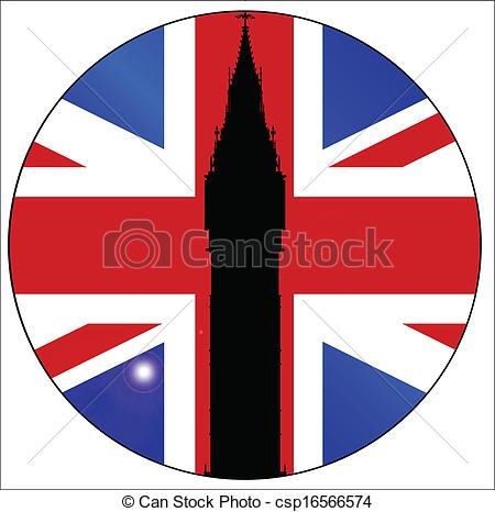 450x466 Union Jack Button. The London Landmark Big Ben Clocktower