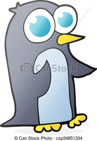 324x470 Freehand Drawn Cartoon Penguin With Big Eyes Vectors